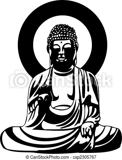 Buddha Black Drawing - csp2305767