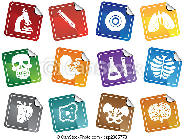 Biology Sticker Icon Set - csp2305773