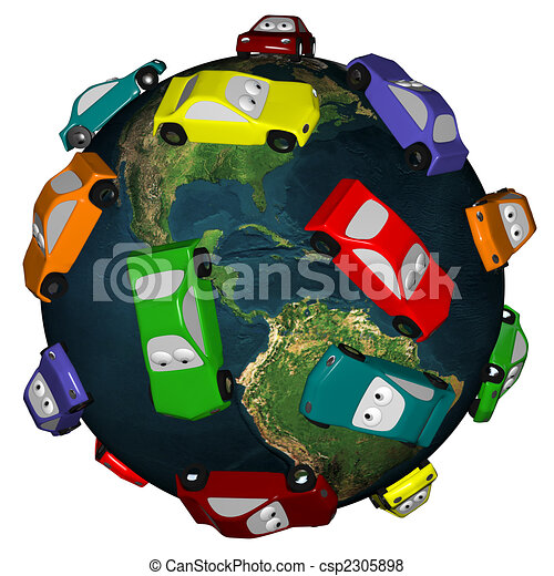 Cars Driving Around the Earth - csp2305898