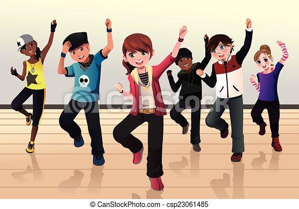 Vector of Kids in hip hop dance class - A vector illustration of ...