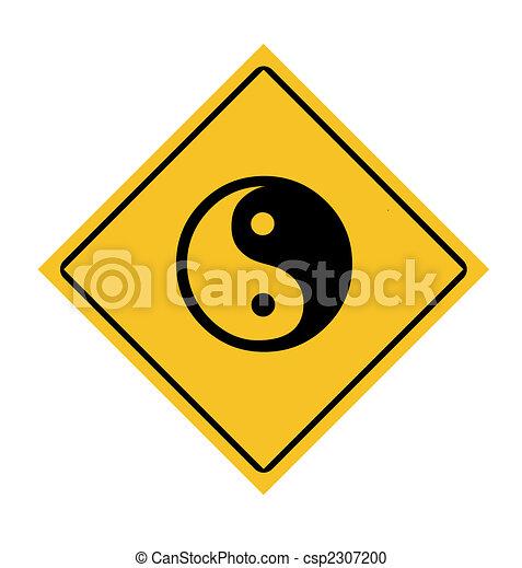 Yin and Yang road sign - csp2307200