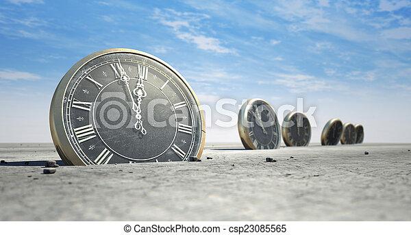 Antique Clocks In Desert Sand - csp23085565