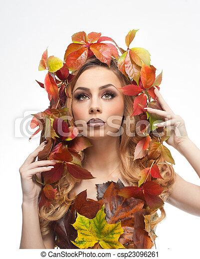 Creative Autumn makeup, studio shot