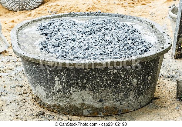 Banque de photographies de m lange b ton baquet fin haut pierre et ciment - Melange a beton ...