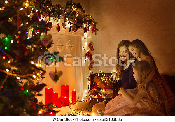 Christmas Family Woman Portrait, Mother And Daughters Celebrate