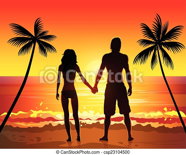 Vector Clipart of Romantic couple holding hands on beach ...