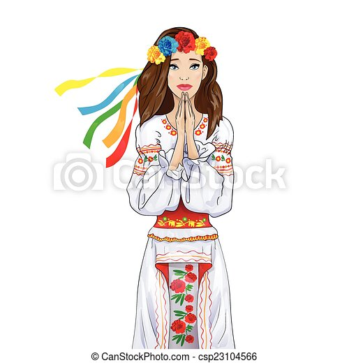 Clip Art Vector of woman pray clasp hands ukrainian national ...