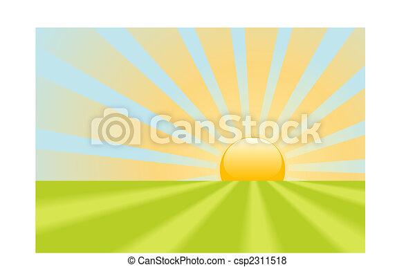 Bright yellow sunrise rays shine on earth scene - csp2311518