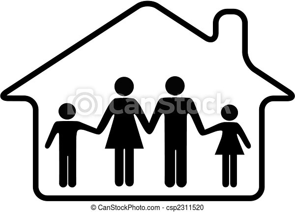 House family parents and children safe in rounded home - csp2311520