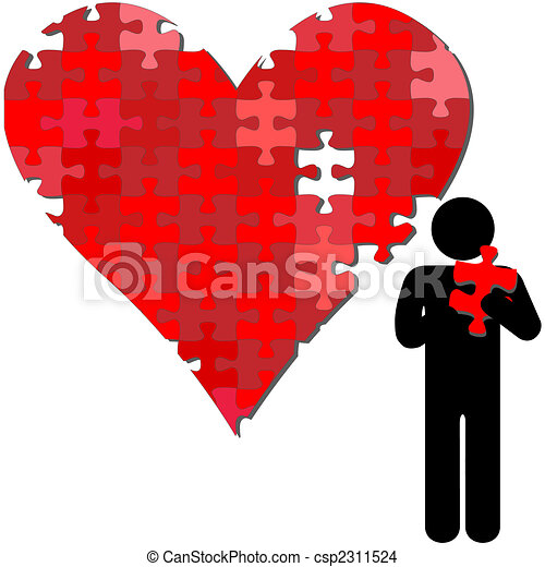 Valentine heart puzzle piece in arms of person - csp2311524