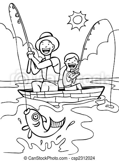 Father Son Fishing Trip Line Art : - csp2312024
