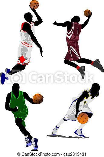 Basketball players. Vector illustration - csp2313431