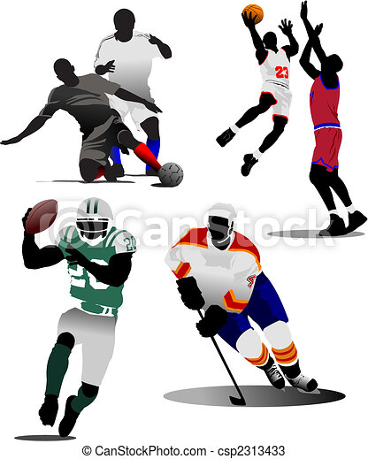 Four kinds of team sport game. Vector illustration - csp2313433
