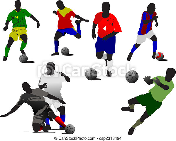 Soccer player  silhouettes in action. Vector illustration - csp2313494
