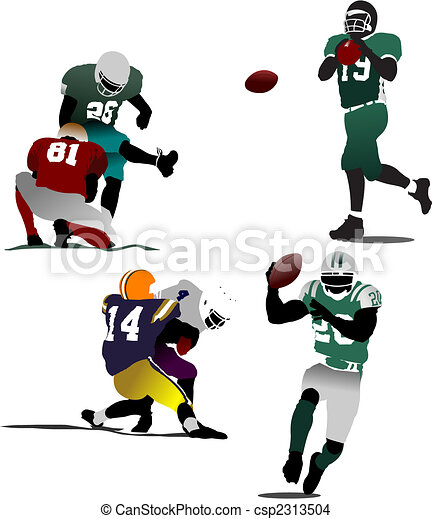 American football player s silhouettes in action. Vector illustration - csp2313504
