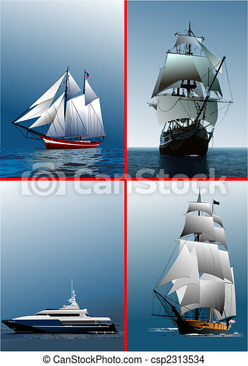Four old sailing vessel - csp2313534