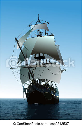 Cover for brochure with old sailing vessel - csp2313537