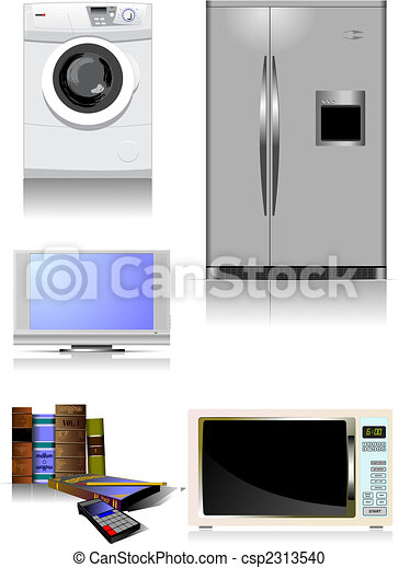 Home equipment. Kitchen. Living room. Library. Vector - csp2313540