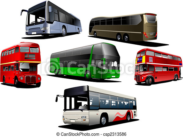 Seven types of  bus. Vector illustration - csp2313586