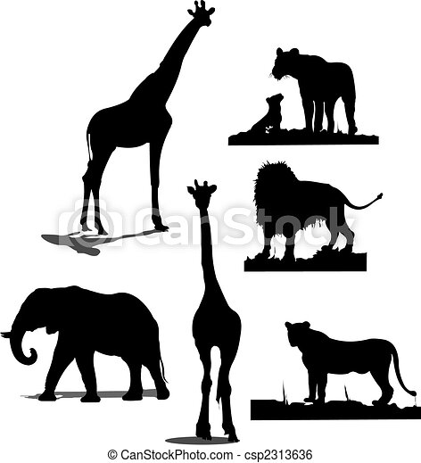 African animal silhouettes. Black and white silhouettes - csp2313636