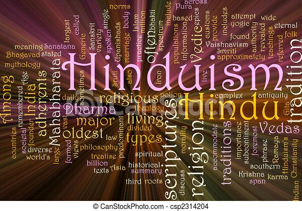 Hinduism word cloud glowing - csp2314204