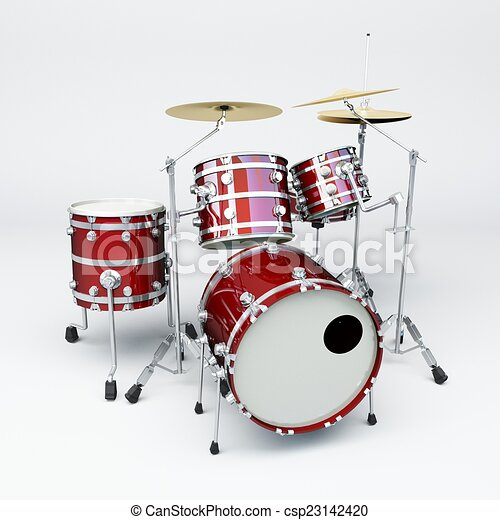 Red Drum Set Clipart Drum Set of Red Material And
