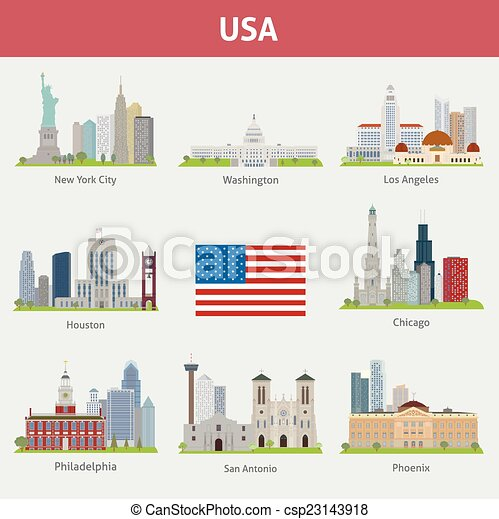 Vector clip art of us cities vector set for you design csp23143918