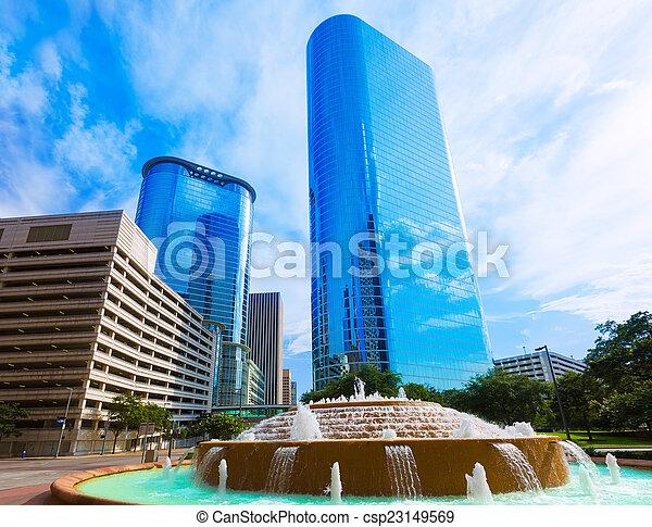 Bob and Vivian Smith fountain in Houston Texas - csp23149569