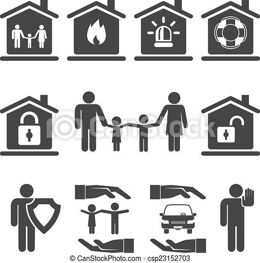 Clipart vecteur de famille maison et auto assurance for Assurance auto maison
