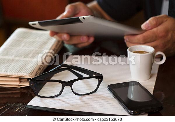 Cup Coffee Newspaper Tablet Hands Phone