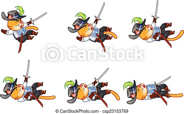 Clip Art Vector of Musketeer Cat Attacking Sprite - Set of Vector ...