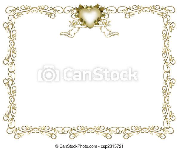 borda, casório, anjos, Ouro, convite - csp2315721
