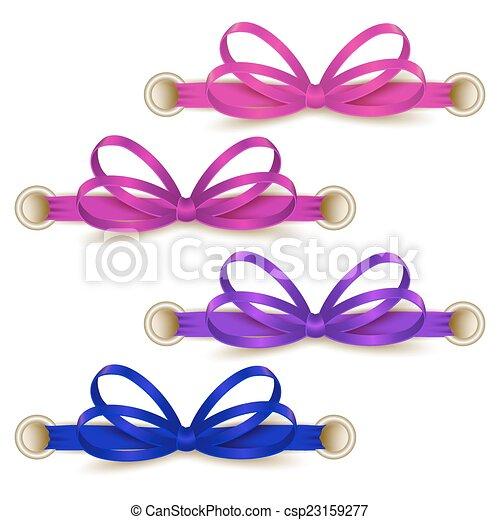 Set of elegant silk colored bows - csp23159277