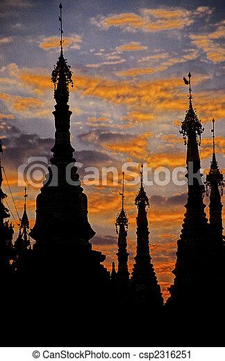 Schwedagon pagoda- Yangon, Burma (Myanmar) - csp2316251