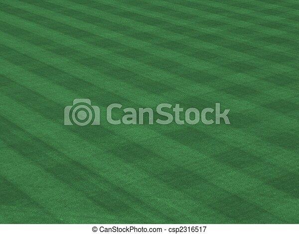 Perfect Grass Showing Mow Patterns at Major League Ballpark - csp2316517