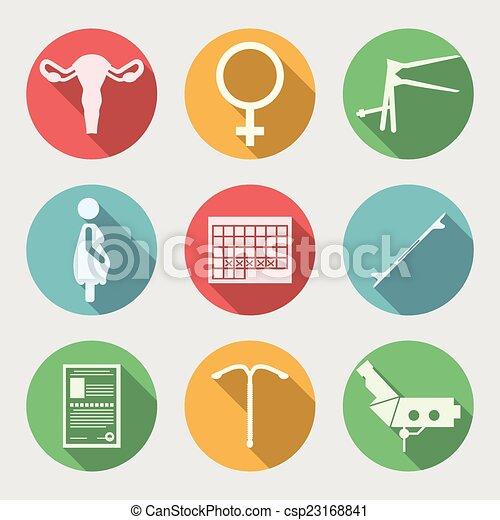 平ら, ベクトル, アイコン, 産科, 婦人科 - csp2316884... セット, 有色人