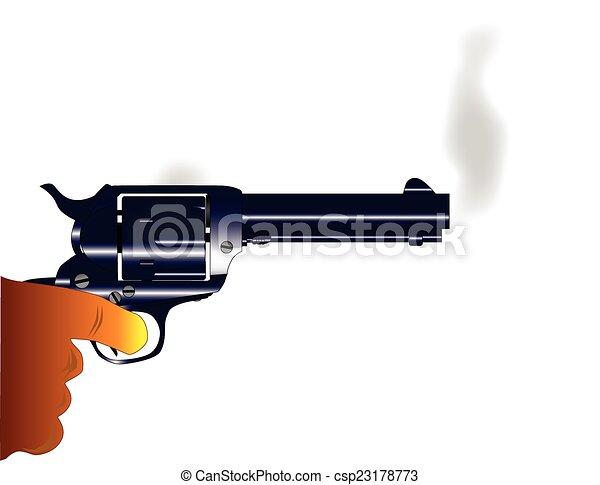 Vectors Illustration of Smoking Gun - A revolver pistol ...