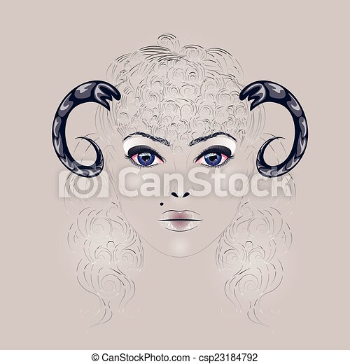 Sheep Horns Drawing Sheep as Girl With Horns
