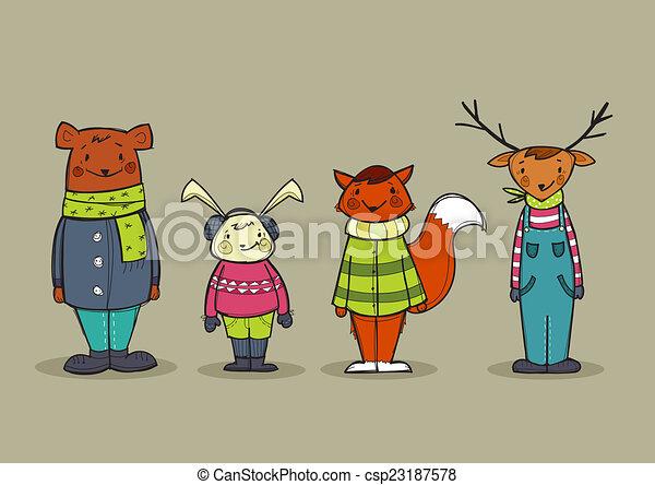 Stock Illustrationen von reizend tiere kleidung  Cute tiere