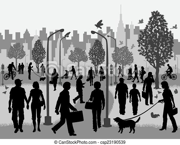 Vectores de ciudad, parque, diario, gente - Ilustración ...
