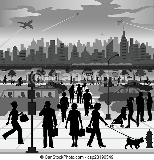 EPS Vector of City People on the Move - Silhouettes of ...