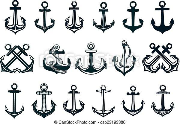 Vecteur de h raldique ensemble bateaux ancre ic nes noir blanc csp23193386 - Dessin ancre bateau ...