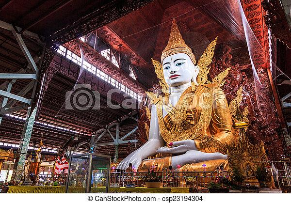 Buddha in Ngahtatkyi Pagoda in Yangon, Myanmar (Burma) They are  - csp23194304