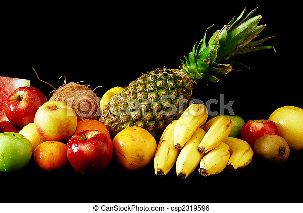 Assorted fresh fruit arranged in line - csp2319596