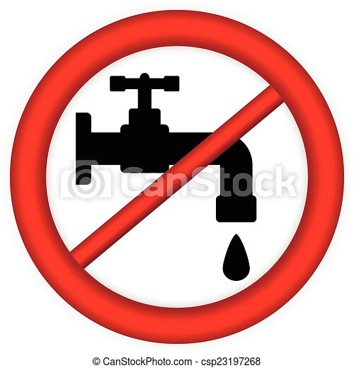 Clip Art Vector Of No Water Tap Sign On White Background