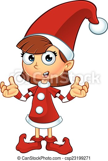 Vectors Illustration Of Girl Elf In Red Character A