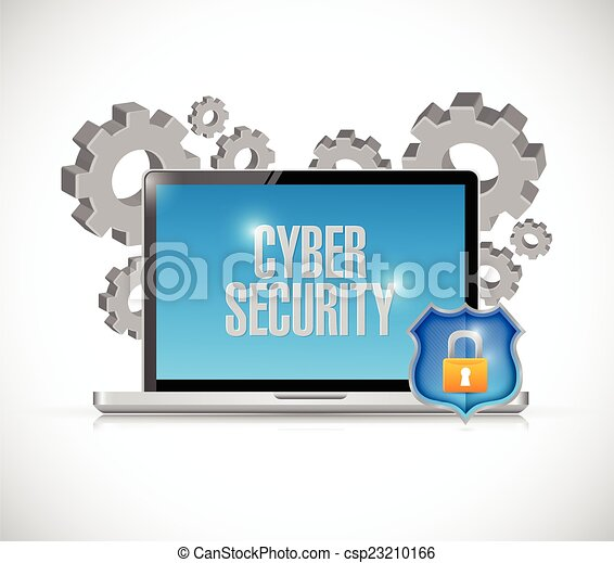 Cyber Security Computer Gears And Shield Vector Clipart ...
