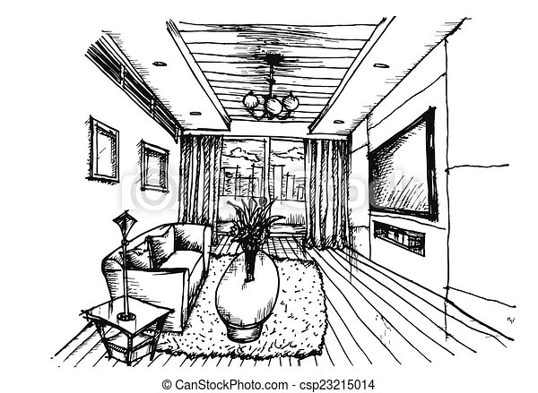 Interior Design Sketches Living Room vector clip art of hand drawing interior design for living room on