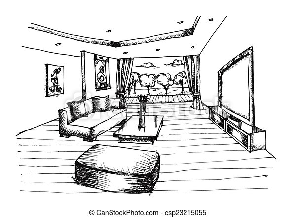 hand drawing interior design for living room