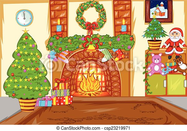 Vectors Illustration of Decorated Christmas House - easy to edit ...
